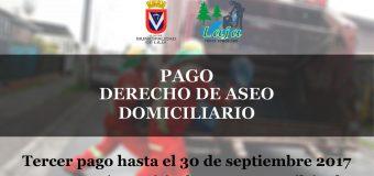 HASTA SEPTIEMBRE SE EXTIENDE PLAZO PARA PAGO DE DERECHO DE ASEO DOMICILIARIO