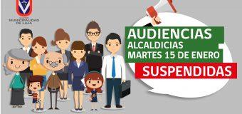 Suspensión Alcaldicias MARTES 15 DE ENERO