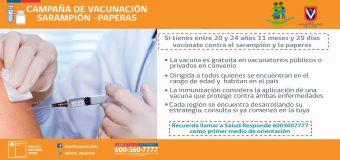 Departamento de Salud Municipal informa horarios VACUNACIÓN