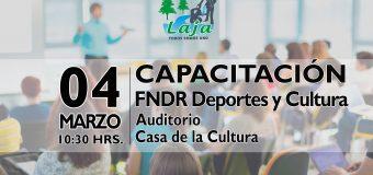 LUNES 04 DE MARZO: FNDR DEPORTES Y CULTURA