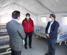 Autoridades provinciales visitan hospital de campaña de Laja