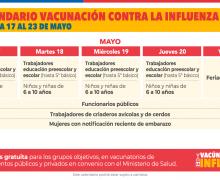Calendario de vacunación contra el Covid-19 e influenza para la semana del 17 de mayo