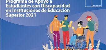 Se inicia convocatoria a Programa de Apoyo a Estudiantes con Discapacidad en Instituciones de Educación Superior 2021
