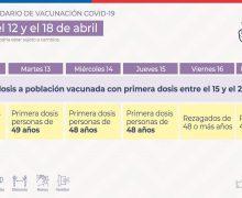Conoce aquí el calendario de vacunación contra el Covid-19 para la semana del 12 al 18 de abril