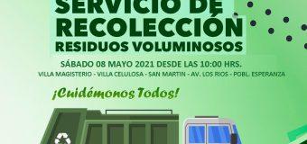 Servicios de recolección de residuos voluminosos para el mes de mayo